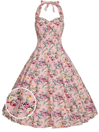 Elegant 1950S Rose Floral Halter Swing Dress