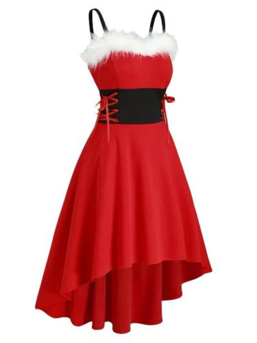 Red 1950S Strap Furry Lace-Up High-Low Dress