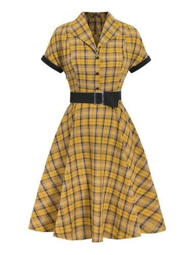 Mustard Yellow 1950S Classic Plaid Belted Short Sleeve Swing Dress