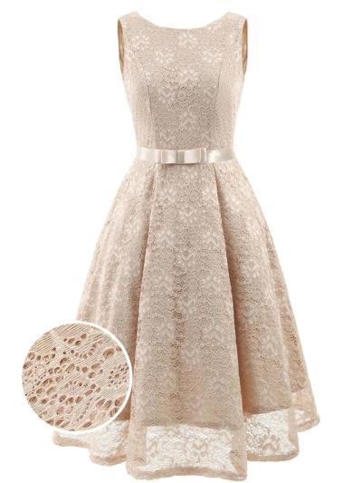Solid Color 1950S Floral Lace Sleeveless V Back Dress