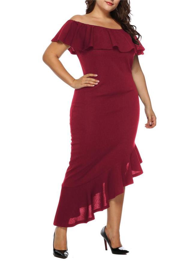 Plus Size Decent Off Shoulder Ruffles Hem Asymmetrical Dress