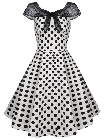 White 1950S Elegant Polka Dot Swing Dress With Bow-Knot Lace Cape