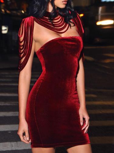 Solid Color Pleuche Strapless Detachable Collar Party Dresses