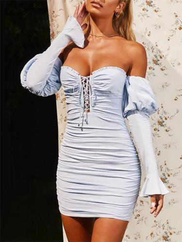 Sexy Off Shoulder Front Lace-up Puff Long Sleeve Sheath Dress
