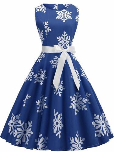 Retro 1950S Snowflake Printing Sleeveless Swing Dress