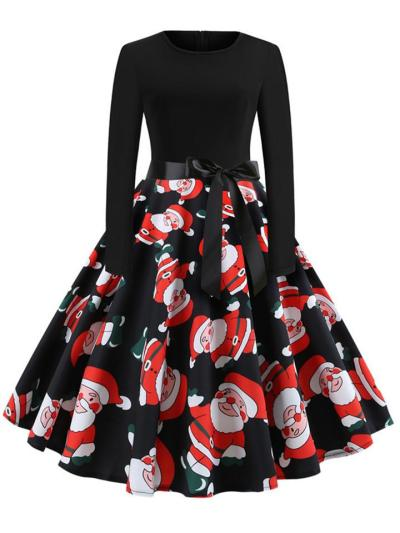 Stylish Bowknot Fitted Waist Pleated 1950s Dress for Christmas Party