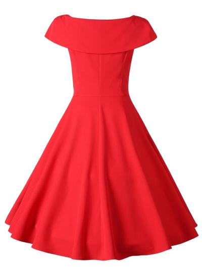 Red 1950S Elegant Bow Tie Swing Dress