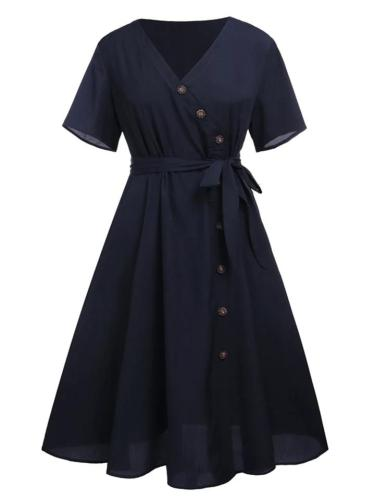 Plus Size Navy Blue 1950S Button V Neck Swing Dress