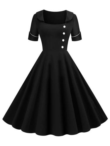 Black 1950S Elegant Button Square Collar A-Line Dress