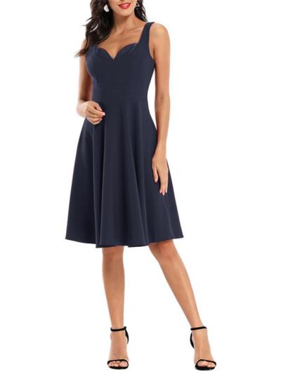 Solid Color 1950S Sexy Sweet Heart Strap Swing Dress