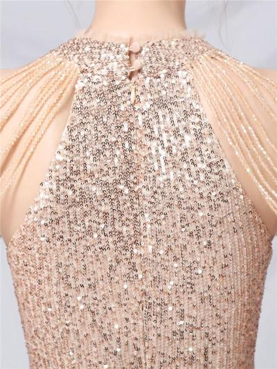 Sexy Shiny Sequin Halter High-Low Dress For Party