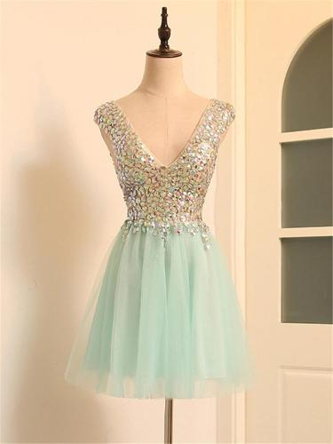 Cyan Sexy Charm Deep V Neck Sequin Cocktail Dress