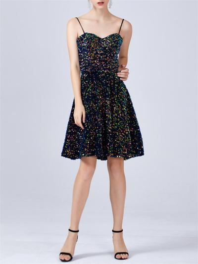 Black Shiny Sequin Sexy Spaghetti Strap Cocktail Dresses For Prom