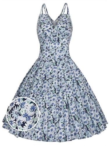1950S Daisy Floral V Neck Spaghetti Strap Swing Dress