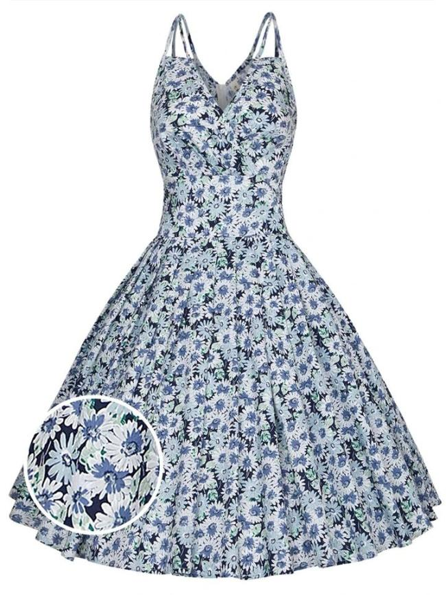 1950S Daisy Floral V Neck Spaghetti Strap Swing Dress