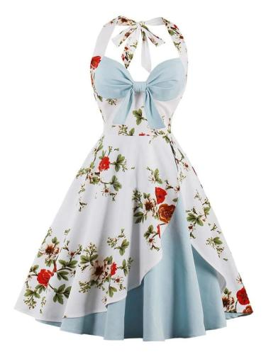 1950S Sexy Halter Floral Swing Dress