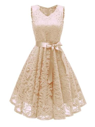 1950S Lace Floral Bow Sleeveless Swing Dress Spandex