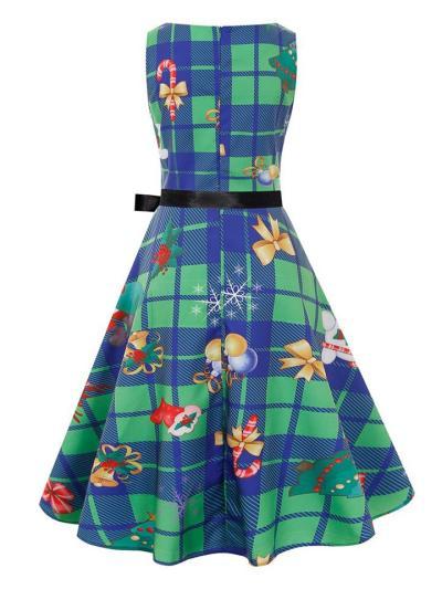 Classic Retro 1950S Plaid Christmas Printing Sleeveless Dress