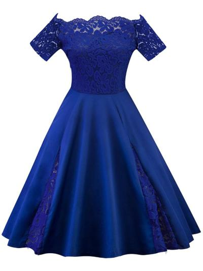 Plus Size 1950S Lace Patchwork Off Shoulder Swing Dress For Party