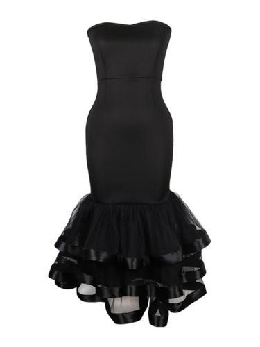 Sexy Black Strapless Patchwork Mesh Ruffle Hem Sheath Dress