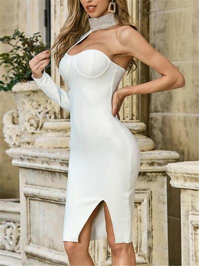 White Sexy Single Long Sleeve Backless Bodycon Dress For Cocktail Party
