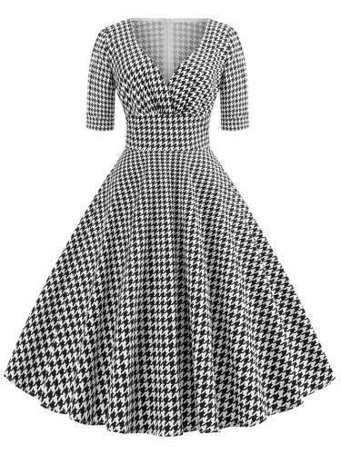 Black White 1950S Plaid V Neck Elegant Swing Midi Dress