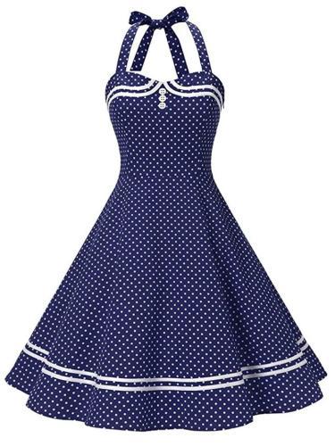 Sweet 1950S Polka Dot Halter Swing Dress
