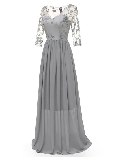 1950s Lace Embroidery Chiffon Maxi Dress