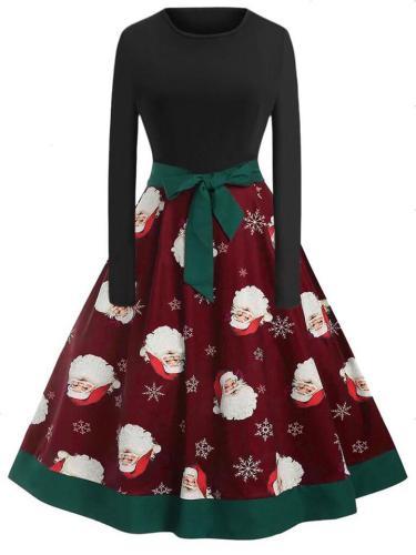 Pretty 1950S Christmas Print Bowknot A-Line Swing Dress