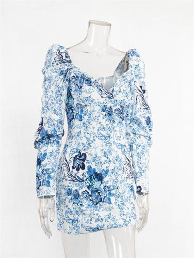 Distinctive Blue and White Floral Print Puff Sleeve Sheath Dress