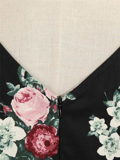 Black 1950S Round Neck Rose Floral Fold Swing Dress