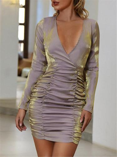 Distinctive Glimmer Ruched V Neck Long Sleeve Sheath Dress For Party