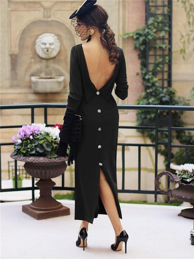1950S Elegant Vintage Backless Button Decor Split Dress