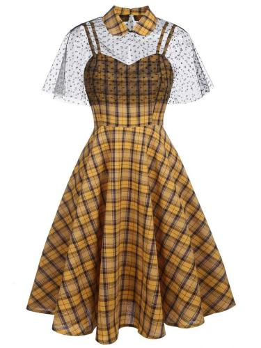 Yellow 1950S Plaid Strap Swing Dress With  Lace Cape