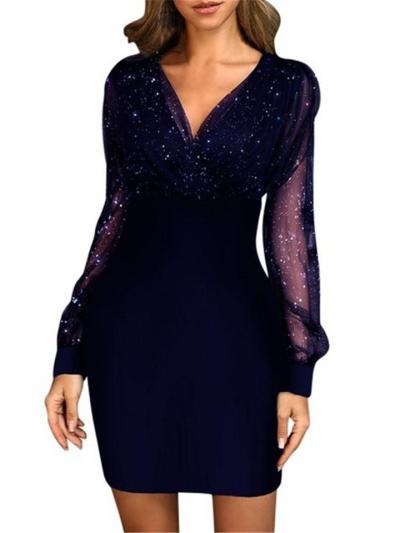 Delightful Slightly Shimmering V Neck Patchwork Mesh Bodycon Dress ForParty