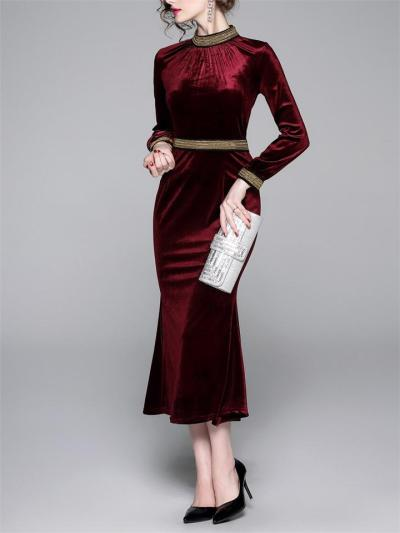 1950S Elegant Velvet Stand Collar Mermaid Hem Dress