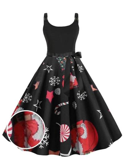 1950S Floral Christmas Bow Sleeveless Swing Dress