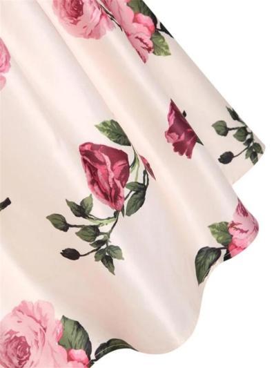 Pink 1950S Romantic Rose Floral Swing Dress
