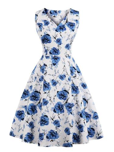 1950S Elegant Floral Print Sleeveless Swing Midi Dress