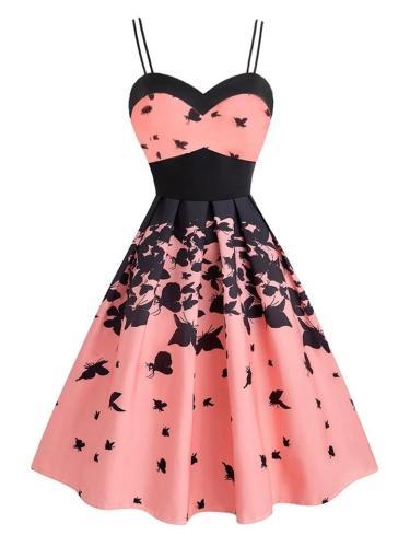 Pink 1950S Lovely Butterfly Print Strap Swing Dress