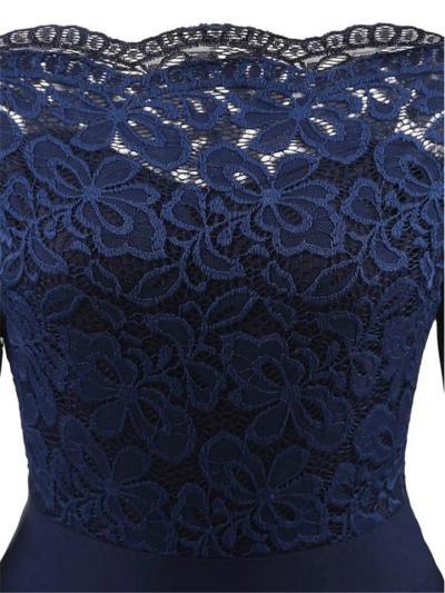 1950S Lace Patchwork Off Shoulder Swing Dress