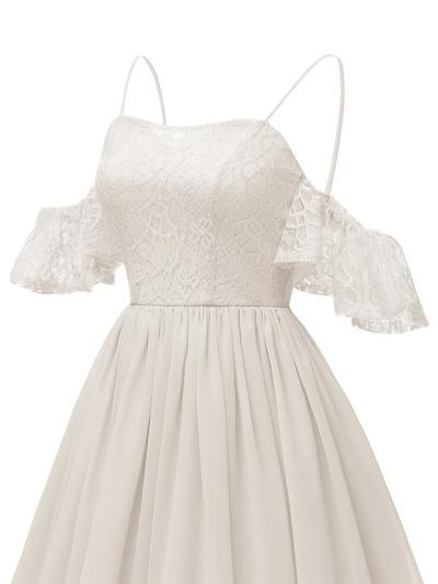 1950S Lace Cold Shoulder Solid Color Strap Dress