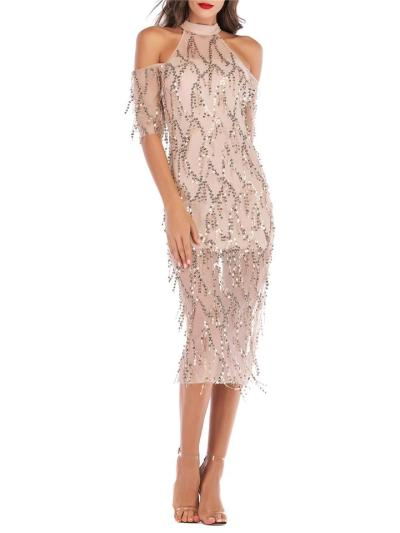 Charm Shiny Sequins Fringed Cold Shoulder Bodycon Dress