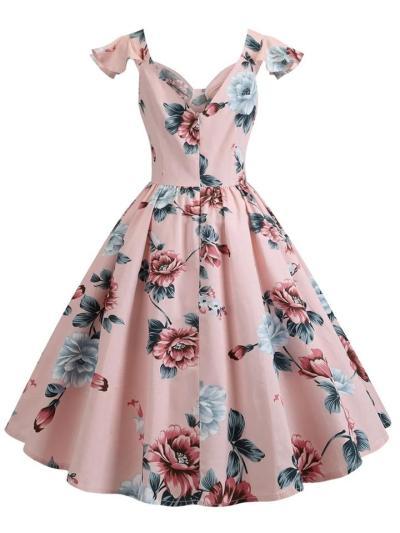 Pretty 1950S Floral FlareSleeve Swing Dress