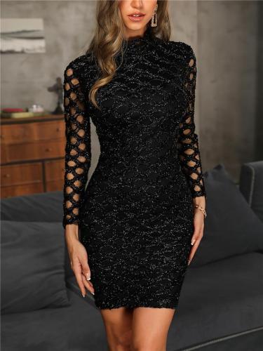 Distinctive Starlight Black Metallic Hollowed-out Sheath Dress