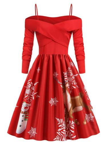 Festive Christmas PrintOff Shoulder Swing Dress