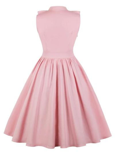 1950S Elegant Ruffle Trim Circle Dress