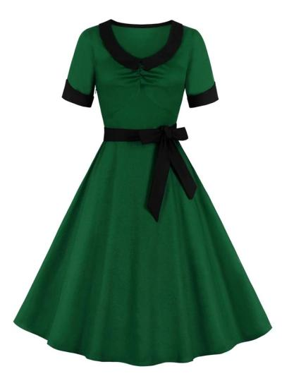 1950S Solid Color ShortSleeve Chelsea Collar Bow Belted Swing Dress