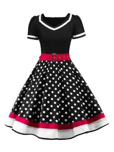 1950S Polka Dot Belted Patchwork Short Sleeve Midi Dress