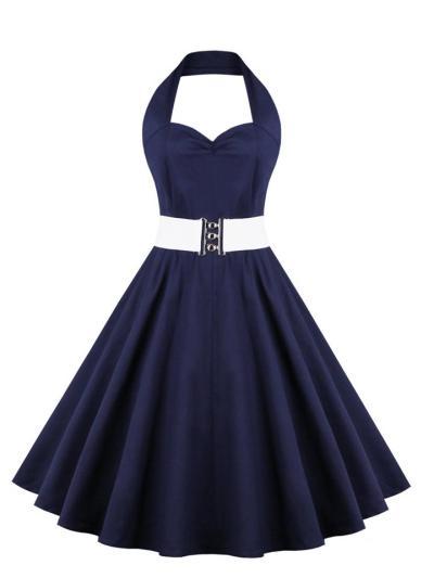 Blue 1950S Polka Dot Belted Halter Swing Dress